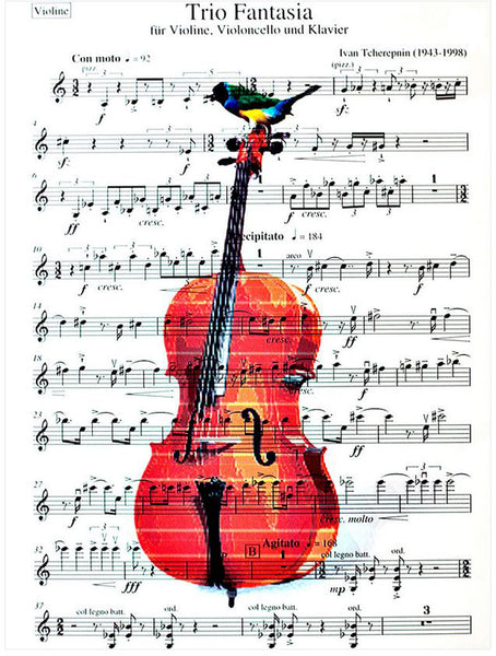 Art N Wordz Cello Birds Original Music Sheet Pop Art Wall or Desk Art Print Poster