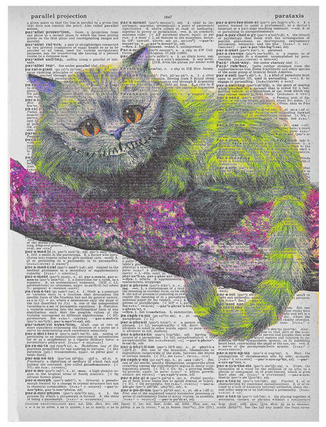 Art N Wordz Alice in Wonderland Cheshire Cat Original Music Sheet Pop Art Wall or Desk Art Print Poster