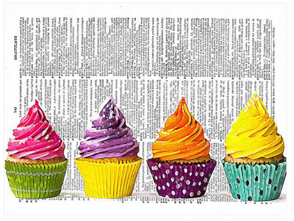 Art N Wordz Colorful Cupcakes Original Dictionary Sheet Pop Art Wall or Desk Art Print Poster