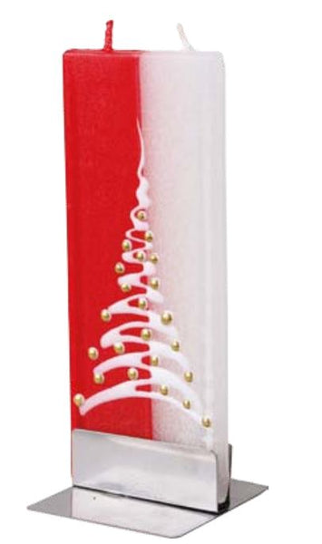 Flatyz Handmade Lithuanian Twin Wick Unscented Thin Flat Candle- Red & White Christmas Tree