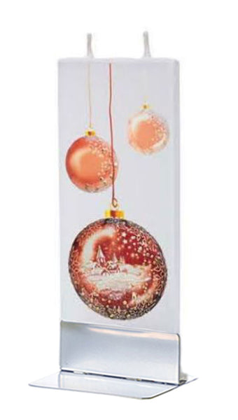 Flatyz Handmade Twin Wick Unscented Thin Flat Candle - Christmas Ball with Town