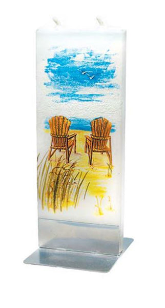 Flatyz Handmade Lithuanian Twin Wick Unscented Thin Flat Candle-Beach Scene