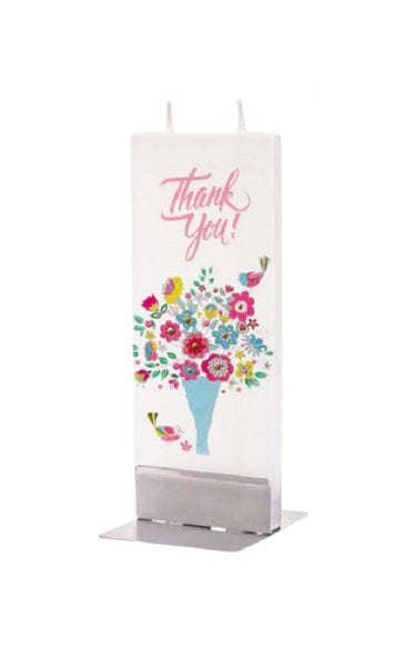 Flatyz Handmade Twin Wick Unscented Thin Flat Candle - Thank You Flowers