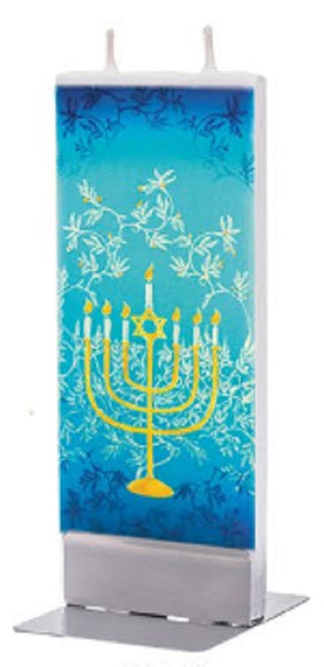 Flatyz Handmade Lithuanian Twin Wick Unscented Thin Flat Candle - Menorah