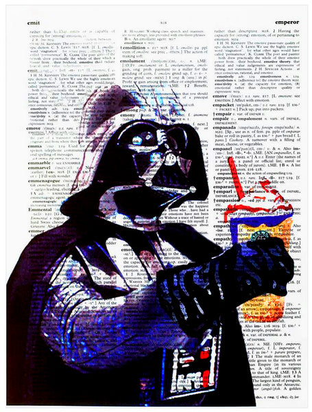 "Art N Wordz Star Wars Darth Vader ""May the Froth Be With You""  Original Dictionary Sheet Pop Art Wall or Desk Art Print Poster"