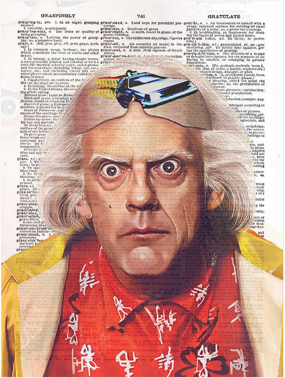 Art N Wordz Back to the Future Doc Brown Original Dictionary Sheet Pop Art Wall or Desk Art Print Poster