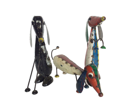 Think Outside Dash Trio Set of 3 Handmade Multicolor Scrap Metal Dog Sculptures