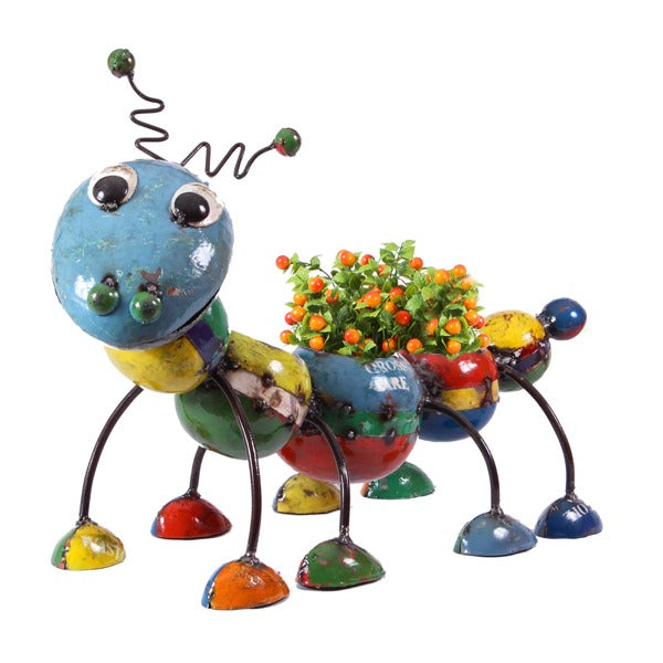 Think Outside Camilla the Caterpillar Handmade Scrap Metal Planter