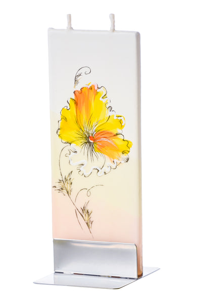 Flatyz Handmade Lithuanian Twin Wick Unscented Thin Flat Candle- Yellow & White Pansies Flower