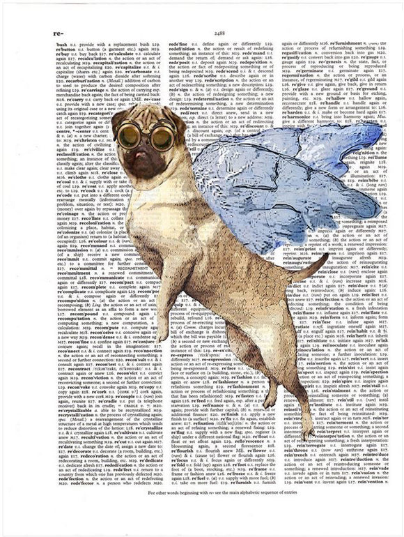 Art N Wordz Flying Pug Original Dictionary Sheet Pop Art Wall or Desk Art Print Poster