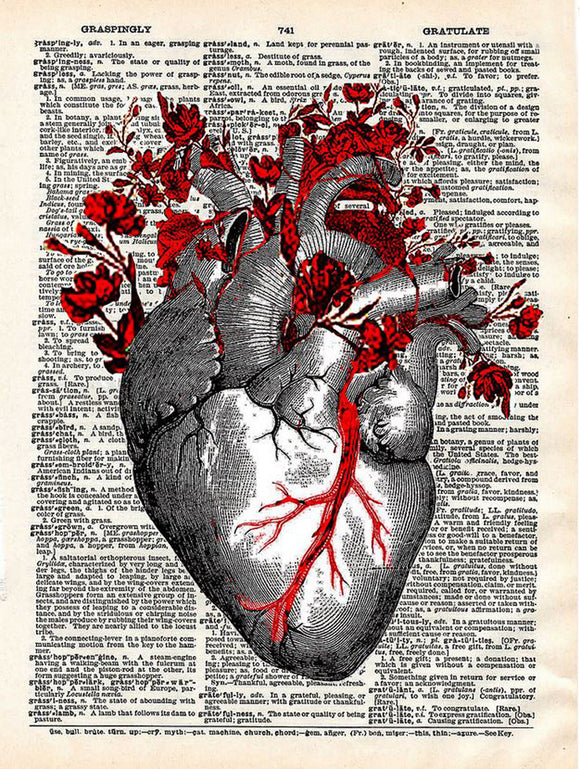 Art N Wordz Anatomical Garden Heart Original Dictionary Sheet Pop Art Wall or Desk Art Print Poster