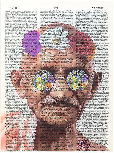 Art N Wordz Gandhi Flower Child Original Dictionary Sheet Pop Art Wall or Desk Art Print Poster
