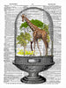Art N Wordz Giraffe Under Glass Original Dictionary Sheet Pop Art Wall or Desk Art Print Poster