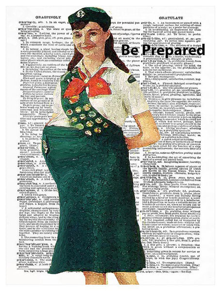 "Art N Wordz Girl Scout Motto ""Be Prepared"" Original Dictionary Sheet Pop Art Wall or Desk Art Print Poster"