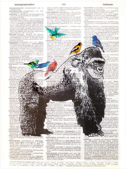 Art N Wordz Gorilla Birds Original Dictionary Sheet Pop Art Wall or Desk Art Print Poster
