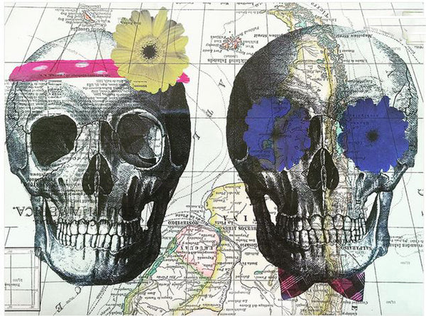 Art N Wordz His and Hers Skull Original Atlas Sheet Pop Art Wall or Desk Art Print Poster