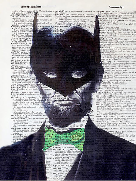 Art N Wordz I Am Lincoln Batman Original Dictionary Sheet Pop Art Wall or Desk Art Print Poster