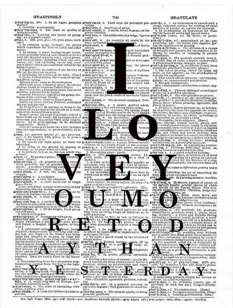 Art N Wordz I Love You More Original Dictionary Sheet Pop Art Wall or Desk Art Print Poster