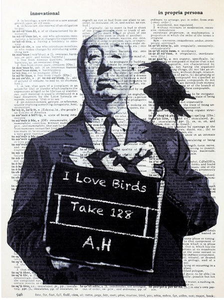 Art N Wordz I Love Birds Hitchcock Original Dictionary Sheet Pop Art Wall or Desk Art Print Poster