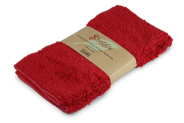 "Janey Lynn Designs Cha Cha Chili Red Shaggies 10""x10"" Cotton Chenille Washcloth"