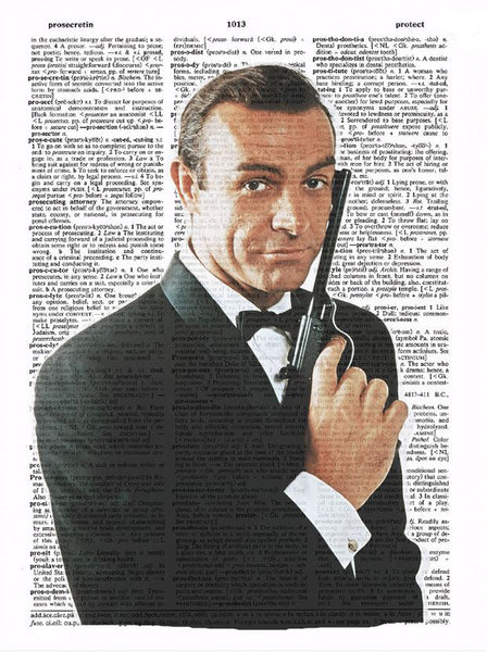 Art N Wordz James Bond Original Dictionary Sheet Pop Art Wall or Desk Art Print Poster
