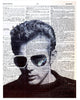 Art N Wordz James Dean Sunglasses Original Dictionary Sheet Pop Art Wall or Desk Art Print Poster