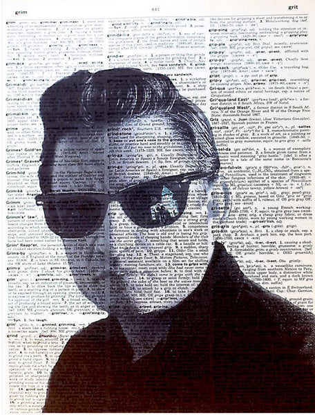Art N Wordz Johnny Cash Sunglasses Original Dictionary Sheet Pop Art Wall or Desk Art Print Poster