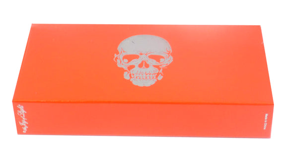 The Joy of Light Designer Matches Silver Foiled and Embossed Skull on Orange Embossed Matte 4