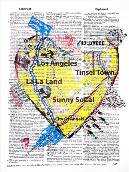 Art N Wordz I Heart LA Original Dictionary Sheet Pop Art Wall or Desk Art Print Poster