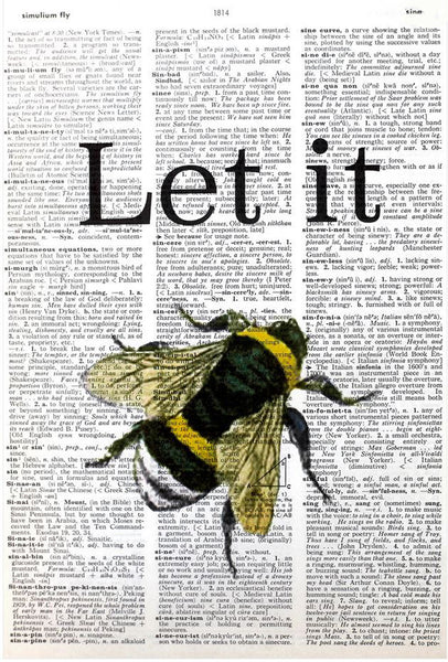 "Art N Wordz ""Let It B"" Bumble Bee Original Dictionary Sheet Pop Art Wall or Desk Art Print Poster"