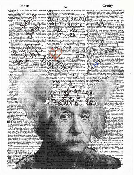 Art N Wordz Mathematician Albert Einstein Original Dictionary Sheet Pop Art Wall or Desk Art Print Poster