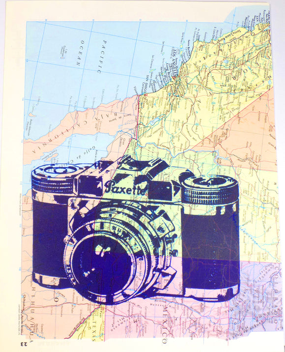 Art N Wordz Vintage Paxette Camera On Original Atlas Sheet Pop Art Wall or Desk Art Print Poster