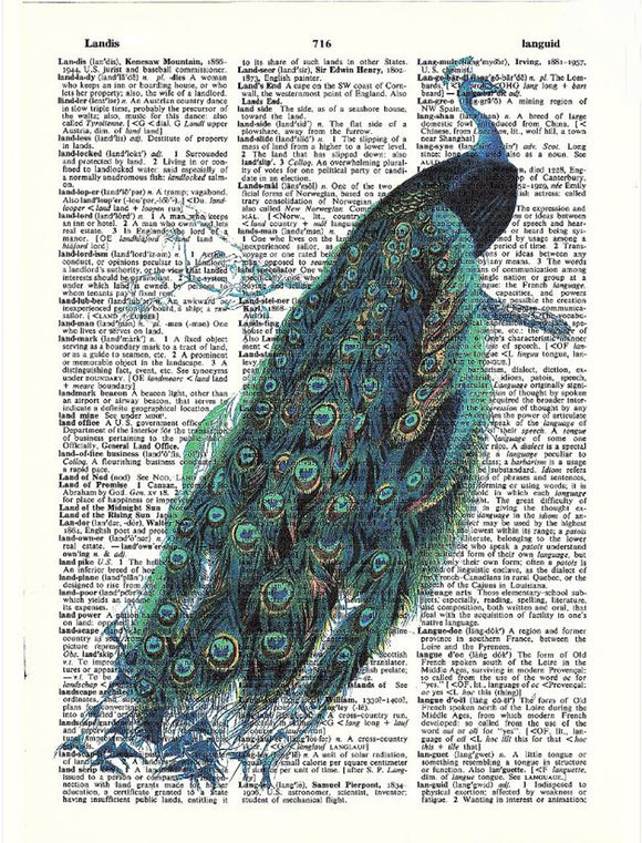 Art N Wordz Peacock Original Dictionary Sheet Pop Art Wall or Desk Art Print Poster