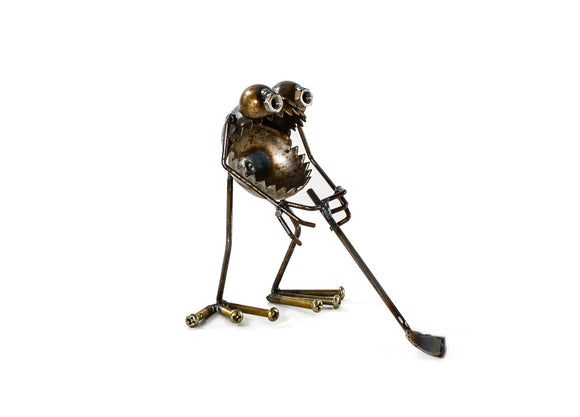 Sugarpost Gnome Be Gone Mini Small Golf Player Welded Scrap Metal Art Sculpture Item #1073