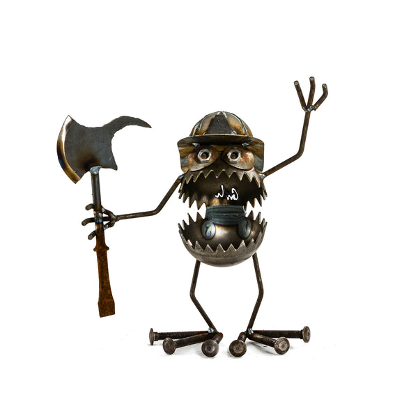Sugarpost Mini Gnome Be Gone Small Firefighter Welded Scrap Metal Art Sculptures Item #1091