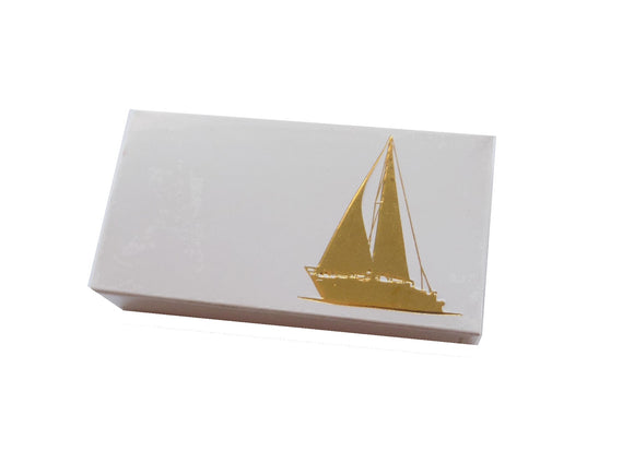 The Joy of Light Designer Matches Gold Sailboat on Embossed Matte 4