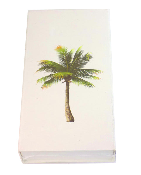 "The Joy of Light Designer Matches Palm Tree on White Embossed 4"" Collectible Matchbox"