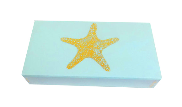 The Joy of Light Designer Matches Gold Foiled Starfish On Light Blue  Embossed Matte 4