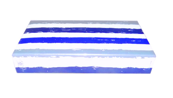 "The Joy of Light Designer Matches Blue Stripe Watercolor Embossed Matte 4"" Collectible Matchbox"