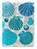 Art N Wordz Turquoise Sea Shells Original Dictionary Sheet Pop Art Wall or Desk Art Print Poster
