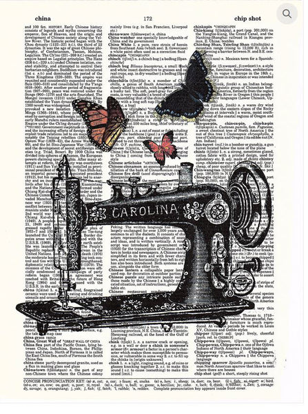 Art N Wordz Sewing Machine Butterflies Original Dictionary Sheet Pop Art Wall or Desk Art Print Poster