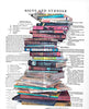 Art N Wordz Stacked Books Original Dictionary Sheet Pop Art Wall or Desk Art Print Poster
