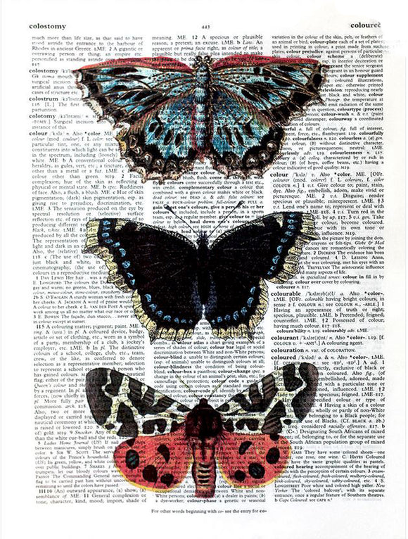 Art N Wordz Stacked Butterflies Original Dictionary Sheet Pop Art Wall or Desk Art Print Poster