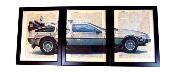 "Art N Wordz Back To The Future ""Delorean"" Time Machine 3 Piece Triplicate Original Dictionary Sheet Pop Art Wall or Desk Art Print Poster"