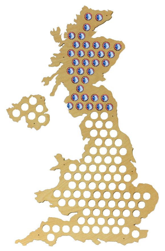 Beer Cap Traps XL Map of United Kingdom Bottle Beer Pop Wood Caps Organizer