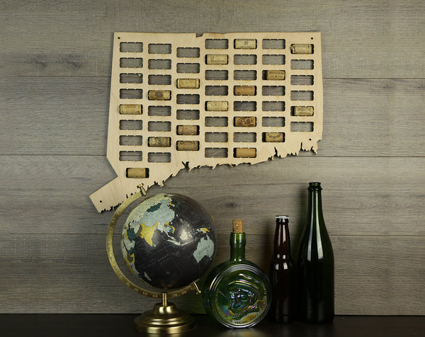 Wine Cork Traps State of Connecticut Wooden Wine Cork Holder Organizer Wall Decoration