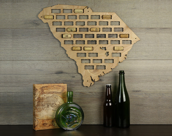 Wine Cork Traps State of South Carolina Wooden Wine Cork Holder Organizer Wall Decoration