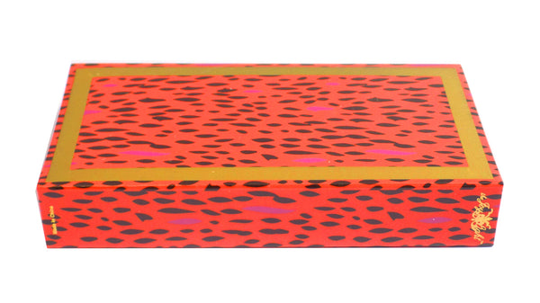 "The Joy of Light Designer Matches Orange & Pink Cheetah Embossed Matte 4"" Collectible Matchbox"