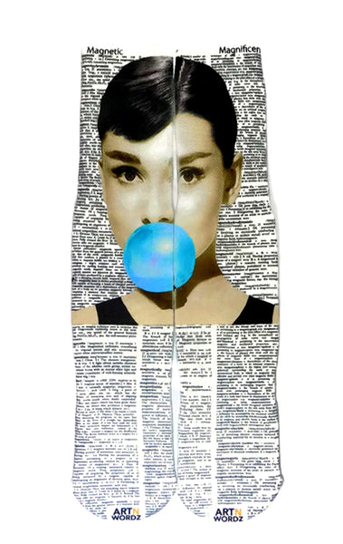 Artnwordz Apparel Audrey Hepburn Bubble Magnetic-Magnificent Dictionary Page Print Pop Art Unisex Socks