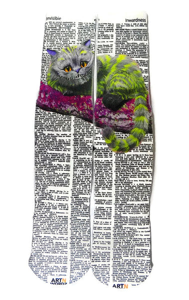 Artnwordz Apparel Alice In Wonderland's Cheshire Cat Invisible-Inwardness Dictionary Page Print Pop Art Unisex Socks